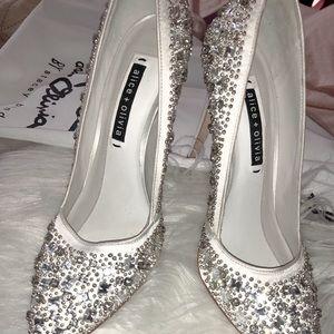 Alice + Olivia Crystal Ivory Heels
